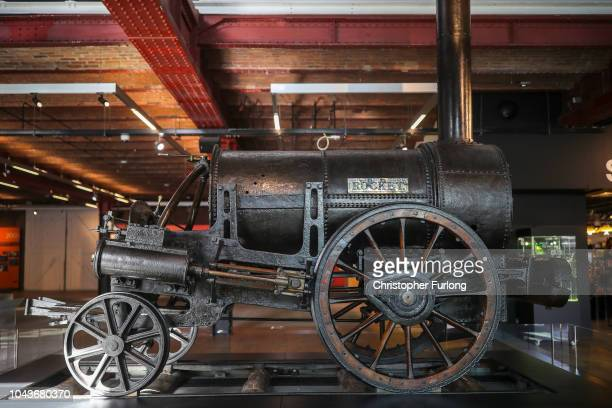 A detail of the iconic Stephenson's Rocket steam locomotive as it sits on display at the Manchester Museum of Science and Industry on September 24...