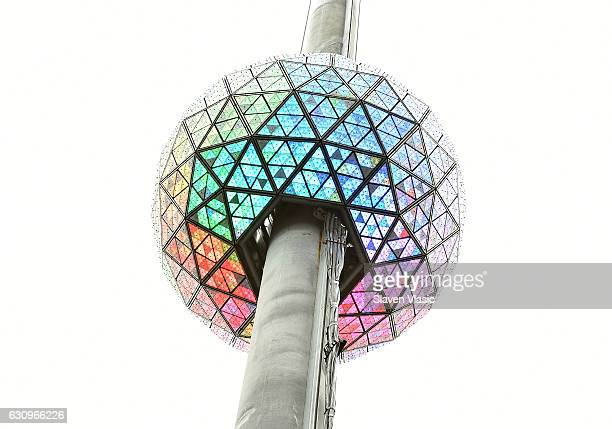 The iconic Times Square New Year's Eve Ball which dropped to usher in 2017 is once again sent back up the 130foot pole atop One Times Square where it...