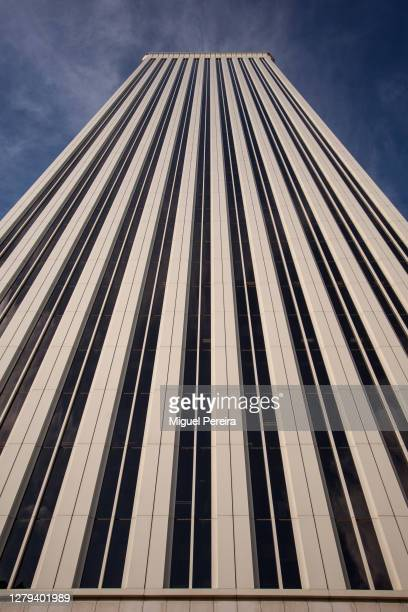 The iconic Torre Picasso raises at Azca business area on October 9, 2020 in Madrid, Spain. Azca, considered the business heart of the city, is a...