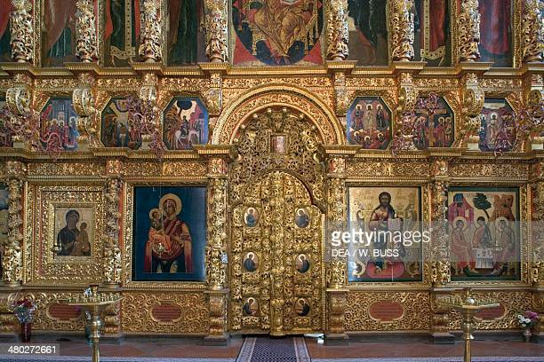 The iconostasis of the Trinity Cathedral Ipatyev monastery founded in 13th century Kostroma Russia