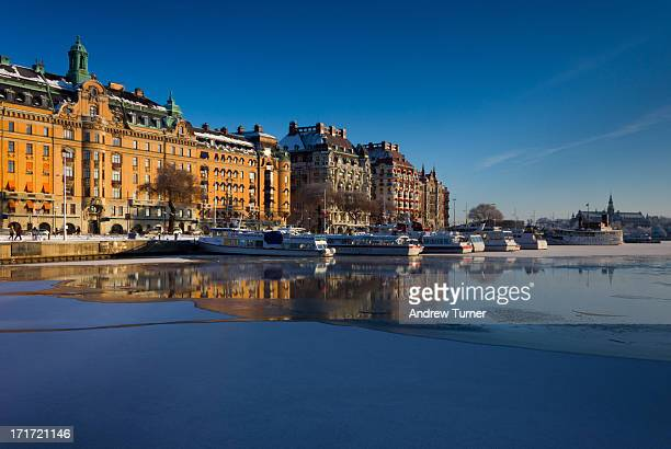 The icy waters of Riddarfjarden in Ostermalm, Stockholm, captured on a freezing but clear morning back in January. The building to the right in the...
