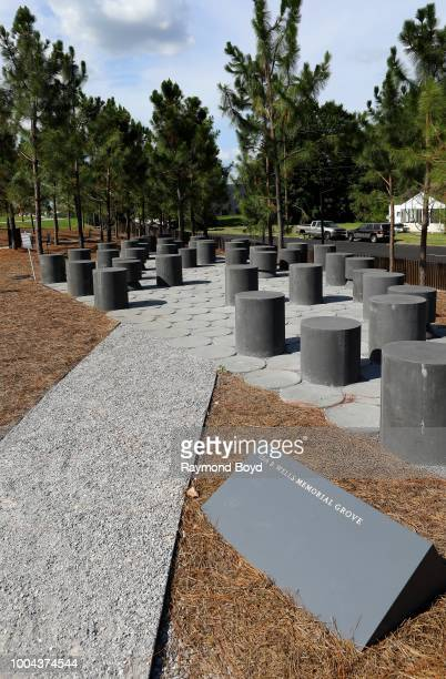 The Ida B. Wells Memorial Grove sits inside The National Memorial For Peace And Justice in Montgomery, Alabama on July 6, 2018.