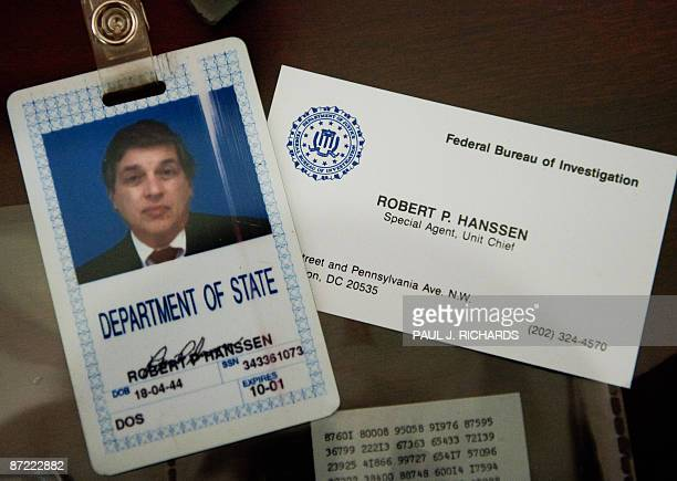 The identification and business card of former FBI agent Robert Hanssen are seen inside a display case at the FBI Academy in Quantico Virginia May 12...