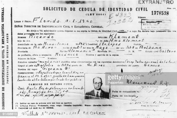 The identification papers of SS officer Adolf Eichmann which he used to enter Argentina after the war 1950 He is travelling under the alias 'Ricardo...