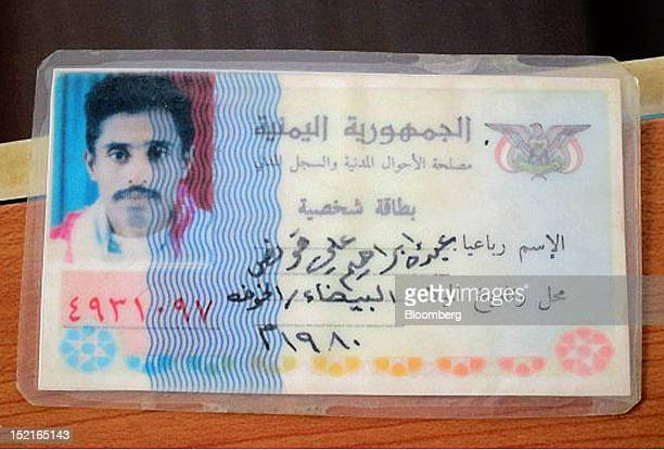 The identity card of Mohammed Ali Quanas a Yemeni fisherman who was shot by a security guard on the Nordic Fighter tanker in the Red Sea in 2011 is...
