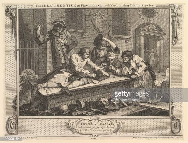 The Idle 'Prentice at Play in the Churchyard Industry and Idleness plate 3 September 30 1747 Artist William Hogarth