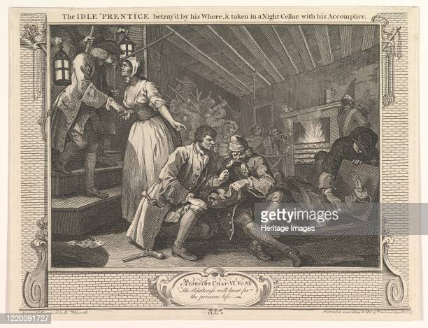 The Idle 'Prentice Betrayed by his Whore and Taken in a Night Cellar with his Accomplice September 30 1747 Artist William Hogarth