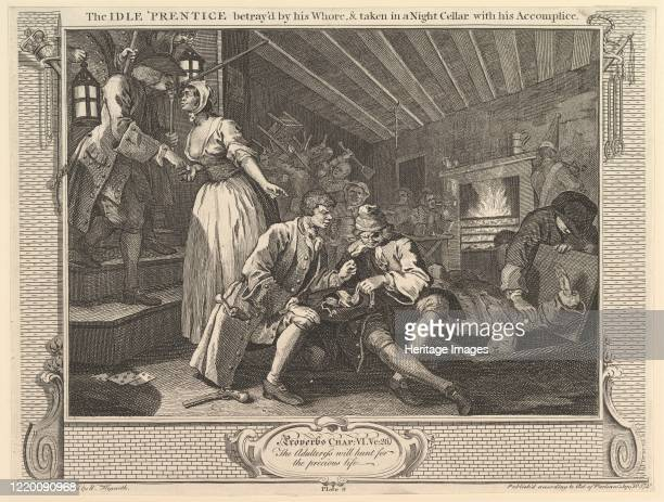 The Idle 'Prentice Betrayed by his Whore and Taken into a Night Cellar with his Accomplice Industry and Idleness plate 9 September 30 1747 Artist...