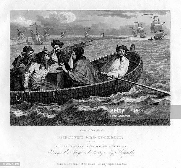 'The idle 'prentice turn'd away and sent to sea' plate V of 'Industry and Idleness' 1833 Early 19th century version of a scene from Hogarth's series...