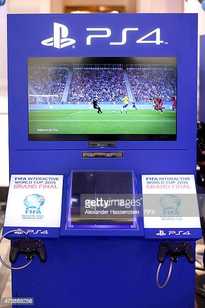 The IDU with a PS4 during the group stage of the finale for FIFA Interactive World Cup 2015 at Palais am Lenbachplatz on May 18 2015 in Munich Germany