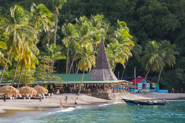 The idyllic palm-fringed beach of Anse Chastanet, Soufriere, St Lucia