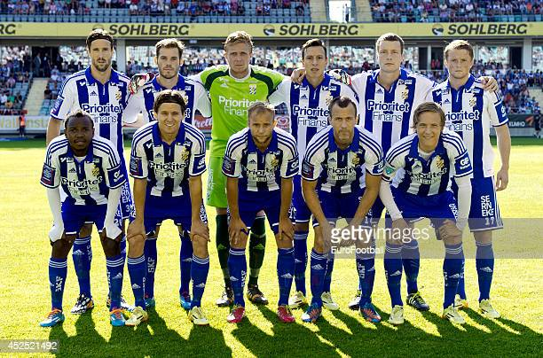 The IFK Goteborg team pose before the Swedish Allsvenskan League match between IFK Goteborg and Helsingborg at the Gamla Ullevi Stadium on July 6...