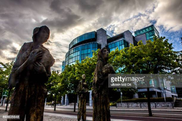 The IFSC House seen from beside the Famine Memorial statues in Dublin Ireland 04 June 2015