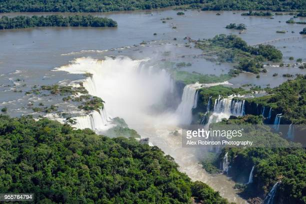 the iguazu falls on the border of argentina and brazil - iguacu falls stock pictures, royalty-free photos & images