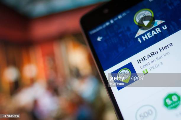 The iHEARu app is seen on an Android device on February 12 2018 The iHEARu app lets people choose a restaurant based on its noise levels