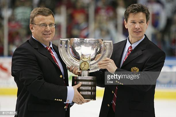 The IIHF World Championship Cup is presented to Russia after their win over Canada during the Gold Medal Game of the International Ice Hockey...