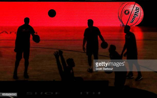The Illawarra Hawks warm up prior to the round 18 NBL match between Melbourne United and the Illawarra Hawks at Hisense Arena on February 6 2017 in...