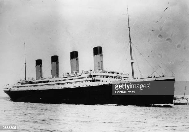 The illfated White Star liner RMS Titanic which struck an iceberg and sank on her maiden voyage across the Atlantic