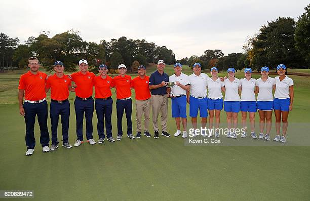The Illinois Fighting Illini and Duke Blue Devils pose with the trophy after winning the 2016 East Lake Cup at East Lake Golf Club on November 2 2016...