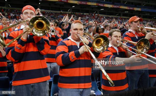 The Illinois Fighting Illini band performs during practice for the NCAA Final Four on April 1 2005 at the Edward Jones Dome in St Louis Missouri