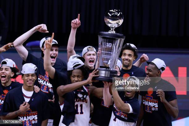 The Illinois Fighting Illini hold up the Big Ten Basketball Championship trophy with a win over the Ohio State Buckeyes in the Big Ten Basketball...
