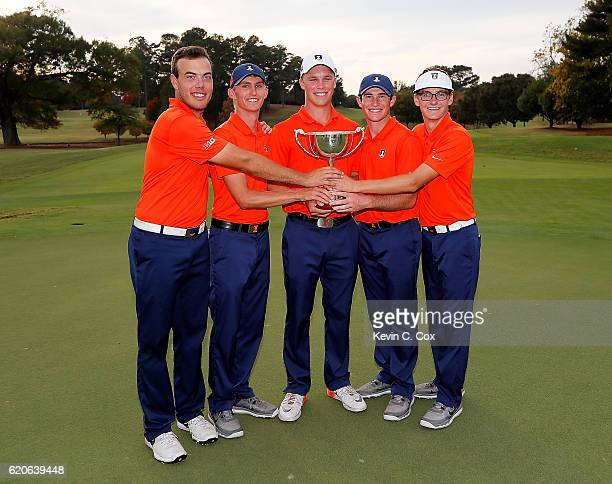 The Illinois Fighting Illini pose with the trophy after winning the 2016 East Lake Cup at East Lake Golf Club on November 2 2016 in Atlanta Georgia