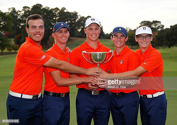 The Illinois Fighting Illini pose with the trophy after winning the 2016 East Lake Cup during day 2 of the 2016 East Lake Cup at East Lake Golf Club...