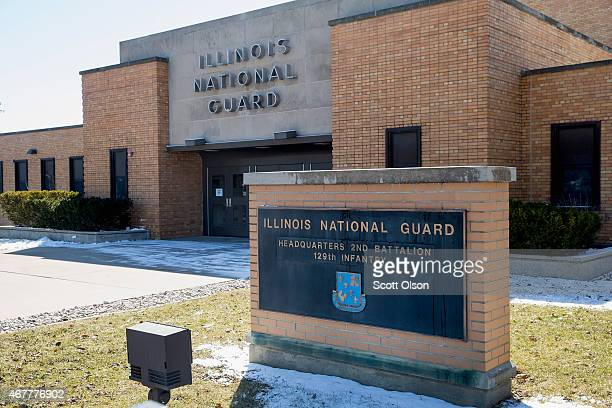 The Illinois National Guard armory where Hasan Edmonds served sits along a commercial street on March 27 2015 in Joliet Illinois Hasan who was a...
