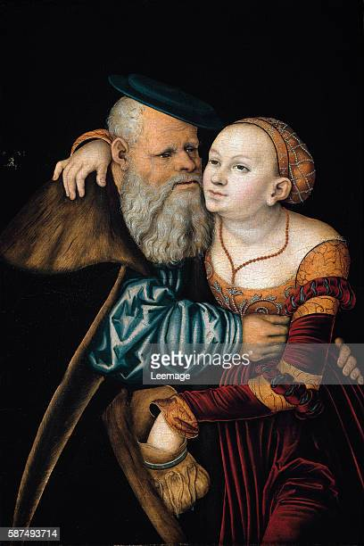 The Ill-Matched Couple - Couple of an old man and a young woman stealing discreetly money in his purse - Painting by Lucas Cranach The Elder -...