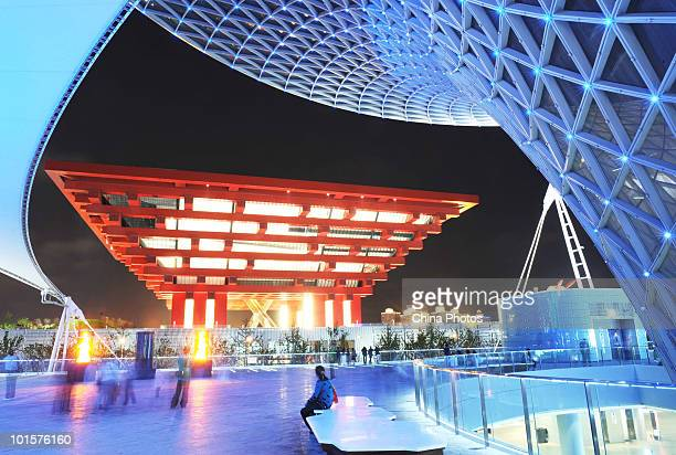 The illuminated China Pavilion is seen during the 2010 World Expo on May 31 2010 in Shanghai China The World Expo will be held from May 1 to October...