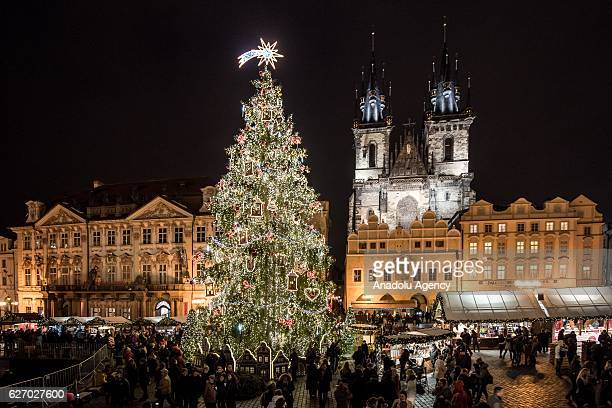 The illuminated Christmas tree at the Christmas market at Old Town Square in Prague Czech Republic on December 1 2016 Christmas markets traditionally...