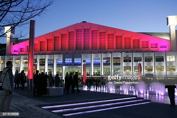 The illuminated exterior of Wembley Arena in London, circa 2009.