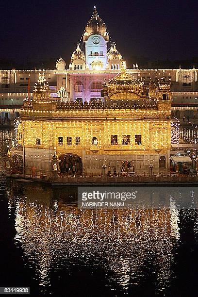 The illuminated Golden Temple is seen on the eve of the festival of Bandi Chhor Divas in Amritsar on October 27 2008 BandiChhor Divas commemorates...