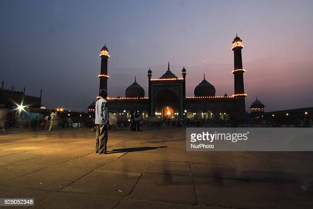 The illuminated Jama Masjid on the first day of the holy month of Ramadan in the old quarters of Delhi on June 192015