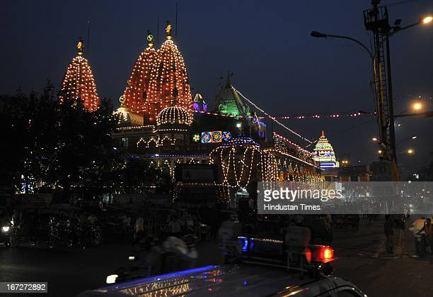 The illuminated Shri Digambar Jain Lal Temple at Chandni Chowk Old Delhi on the eve of Lord Mahavira Jayanti celebrations on April 23 2013 in New...
