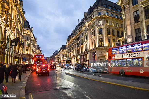 The illuminated streets of London in the evening