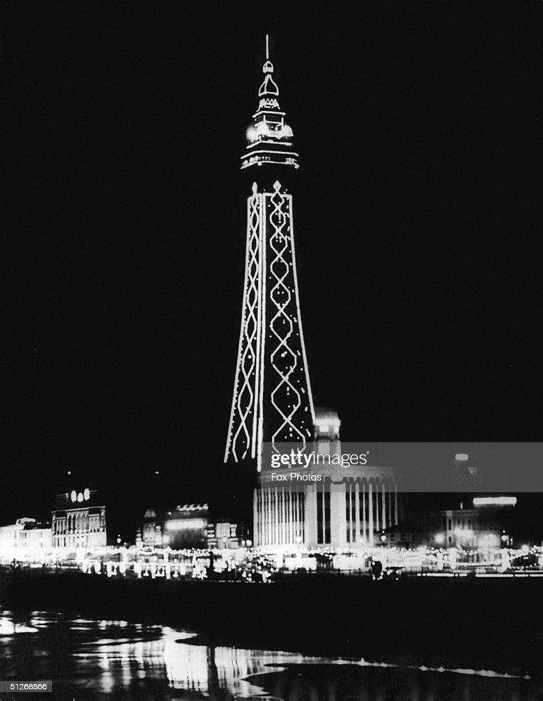 The illuminated structure of Blackpool Tower, 1954.