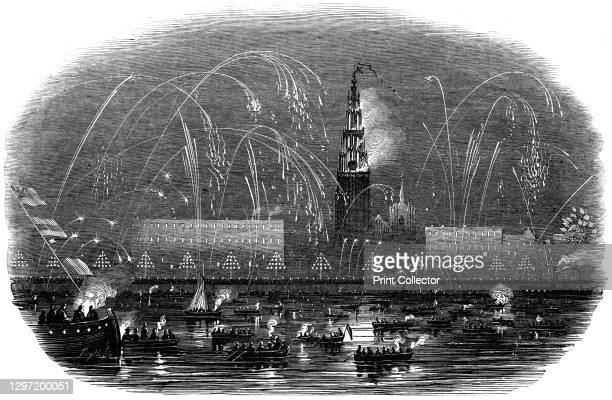 The Illumination of Antwerp, at Her Majesty's Return, 1845. Firework display in honour of Queen Victoria's visit to Belgium: '...sheaves of rockets...