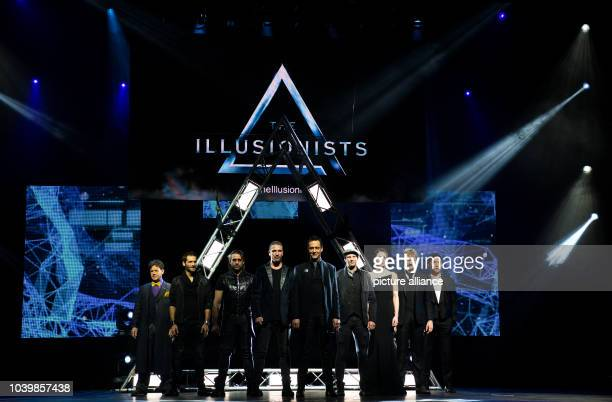 The illusionists Raymond Crowe Enzo Weyne Ben Blaque James More Luis de Matos Krendl Amelie van Tass Thommy Ten and Yu HoJin stand on stage for a...