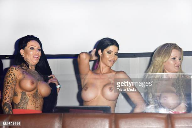 The image contains nudity) RoxxyX, Micaela Schaefer and Melina INK during the netstars.tv party at Spindler & Klatt on October 15, 2017 in Berlin,...