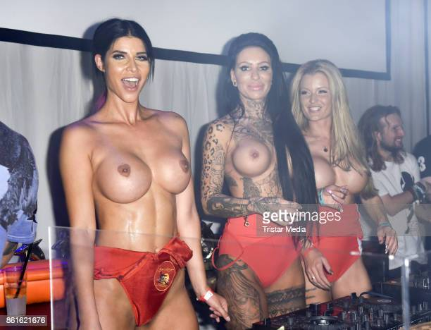The image contains nudity RoxxyX Micaela Schaefer and Melina INK during the netstarstv party at Spindler Klatt on October 15 2017 in Berlin Germany