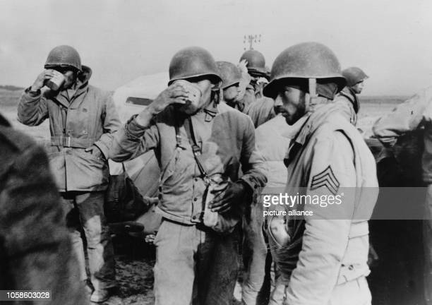 The image from the Nazi Propaganda depicts captured American soldiers at an assembly point in Tunisia published on 9 March 1943 Place unknown Photo...