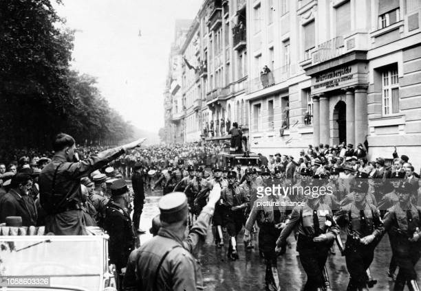 The image from the Nazi Propaganda shows Adolf Hitler on the occasion of the great Gautag of the National Socialists in Munich Germany 3 July 1932...