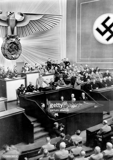 The image from the Nazi Propaganda shows Reich Chancellor Adolf Hitler delivering a speech in the Kroll Opera House in Berlin Germany 18 March 1938...