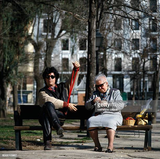 """""""The image is called 'All about my mother' and this is truly his mother knitting...He makes up the rest, a very """"Spanish"""" gesture which reflects his..."""
