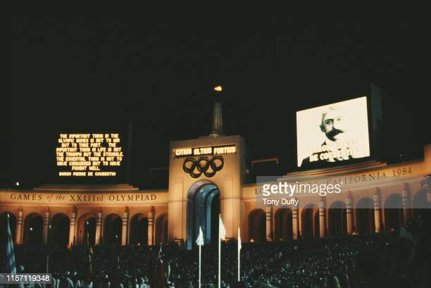 The image of Baron Pierre de Coubertin founder of the International Olympic Committee is projected together with the verse of the Olympic ideal of...