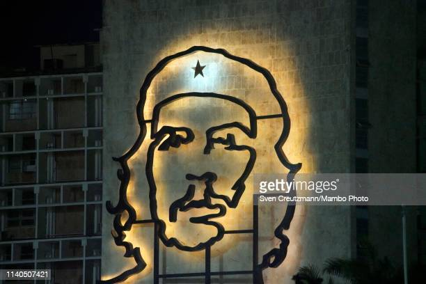The image of Che Guevara is seen at the Ministry of Interior prior to the May Day parade at the Revolution square, on May 1st in Havana, Cuba. The...