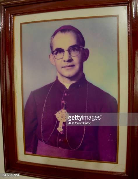 The image of Colombian Bishop Jesus Emilio Jaramillo is seen at the Santa Barbara church in Arauca Colombia on August 30 2017 During his September...