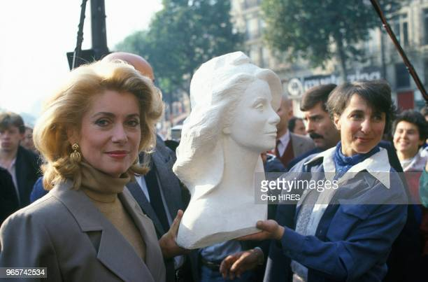 The image of French actress Catherine Deneuve is used to represent Marianne the national symbol of France the bust is created by sculptor Marielle...
