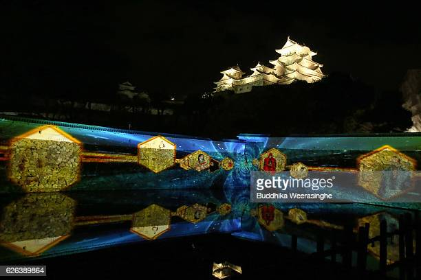 The image of Himeji castle ruled history is projected onto a wall using digital 3D mapping technology during the media day of Himeji Castle Night...
